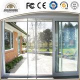 Porte coulissante d'usine d'usine de la Chine des prix de la fibre de verre UPVC de bâti en plastique bon marché bon marché de profil avec le gril à l'intérieur