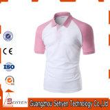 Sports élégants de logo de marque roses et T-shirt blanc de polo de coton