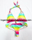 女性または女性のためのセクシーな二つの部分から成ったストラップレスの虹の水着のスーツのビキニ