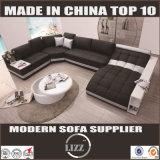 Ausgedehntes ledernes modernes Sofa-Geschnittenschwarzes Lz219