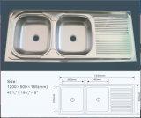Bassin de cuisine bon marché d'acier inoxydable de cuvette de Jnj928 120*50*16 cm double