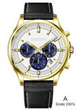 Relógios de Mens impermeáveis da cinta de couro de aço inoxidável do negócio dos homens