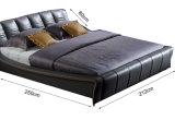 Кровать европейской кровати спальни типа серой кожаный двойная (HC315)