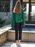 深緑のばねの方法緩い袖の女性ワイシャツ