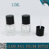 La coutume 12ml vident la bouteille en verre de vernis à ongles avec le balai noir de chapeau