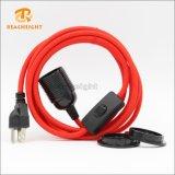 UL-Stecker-Netzkabel-Set mit Schalter-und 2 Farbton-Ring-Lampenhalter