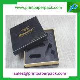 Rectángulo de empaquetado plegable de lujo de encargo del regalo de papel de la cartulina con el rectángulo de joyería de la impresión de la insignia