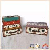 Античная коробка подарка коробки хранения чемодана печати PU вложенности деревянная
