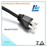 12A/16AブラジルのマークされるTUVの3つのピンの標準電源コード