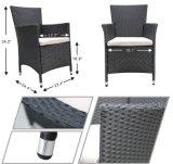 3PC庭の表および椅子はクッションが付いているテラスの藤の家具をセットした