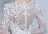 2017年の夜会服のコルセットのキャミソールの石のレースのアップリケのBateauの完全なSleevesweddingの服