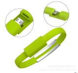 cavo del USB del braccialetto del telefono mobile di 22cm micro di dati piani della carica
