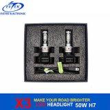 新しいFanless極度の明るいX3自動LEDのヘッドライト6000lm 50W 9012 H4 H7 LED車のヘッドライト