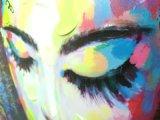 Pittura a olio femminile moderna astratta del ritratto di Graffti