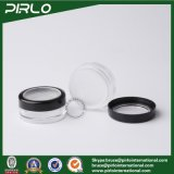 10g borran el crisol cosmético del tamiz con el tarro flojo plástico del polvo del negro de la muestra del casquillo de la ventana con el tamiz