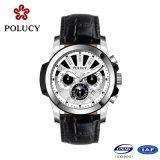 Kundenspezifische echtes Leder-Chronograph-Rosen-Golduhr für Männer
