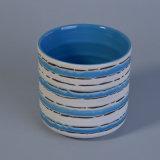 De blauwe Met de hand gemaakte Kruik van de Kaars met Natuurlijke Pattern