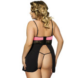Atacado Online Plus Size Pink / Purple Lace Stitching Sexy Halter Babydoll
