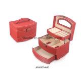 Rectángulo y Caja de Cuero de Joyería de la PU del Nuevo Diseño con los Compartimientos