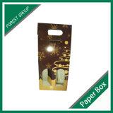 Dos pares del cartón del papel del rectángulo de regalo acanalado con la maneta