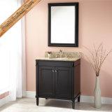 Gabinete moderno do banho da vaidade do banheiro da madeira contínua do único dissipador