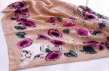 Lenço de seda viscoso da senhora Forma Flor Crânio Printed (YKY1151)