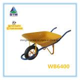 Tipo pneumático da roda e Wheelbarrow material de Bolívia da bandeja do metal