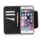 PU Leather Caso Wallet Filp Cover de Skull de la flor para iPhone6 6s