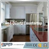 Quartzo vermelho natural projetado Polished para a bancada da cozinha