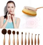 cepillos ovales del maquillaje de la dimensión de una variable del cepillo de dientes del oro de 10PCS Rose