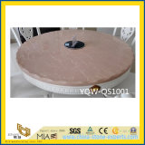 Pedra artificial Polished preta de superfície contínua de quartzo para a tabela de comensal
