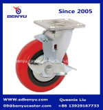 Сверхмощное Rigid Caster с Red Polyurethane Wheel