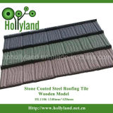 Azulejo de azotea del metal con las virutas de piedra cubiertas (azulejo de madera)