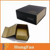 Paquete plano de gran tamaño de las cajas de cartón del negro del plegamiento con blanco de la insignia