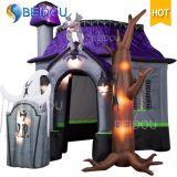 Gato preto das decorações infláveis infláveis de Halloween do fantasma do espírito da abóbora da casa