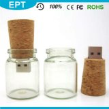 USB por atacado Flash Drive de 2GB/4GB/8GB/16GB Wooden Glass Drift Bottle com Gift Box