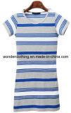 T-shirt rond de fille de vente en gros de coton de cou d'été de mode de piste