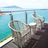 Insieme esterno di vimini della Tabella del patio della mobilia del PE ambientale di buona qualità con assicurazione commerciale