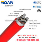 Na2xsey, 3.6/6 chilovolt Power Cable, 3/C, Al/XLPE/Cts/PVC (VDE di HD 620/DIN 0276-620)