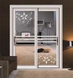 Porte coulissante en aluminium avec verre stratifié trempé