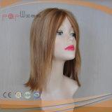 Peluca superior de seda media rubia hecha a máquina de las mujeres del pelo humano