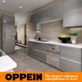 Gabinete de cocina modular de acrílico de madera gris brillante moderno (OP16-A01)