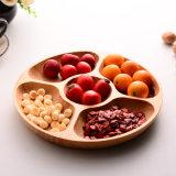Round Five Grid Beech Wood Non-Paint Tray Zakka Dessert Dish Fruit Plate