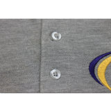 T-shirt gris de polo d'homme de piqué de qualité en gros d'usine