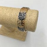 Pulsera de la aleación de la vendimia con el patrón de flor de la pulsera de acrílico de la joyería