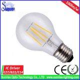 luz de bulbo incandescente del filamento de 100lm/W E27 8W LED