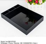 Étalage en plastique noir acrylique de plateau sans traitement