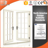 アメリカ様式のアルミニウム木によって蝶番を付けられるドアは、よい眺めFranchの全ガラスドア、中国のブランドのドアをもたらす