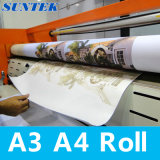 Papel de impressão da transferência térmica do Sublimation do rolo de A3 A4 para o t-shirt