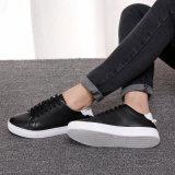 Chaussures en cuir noires blanches de vente chaudes de filles